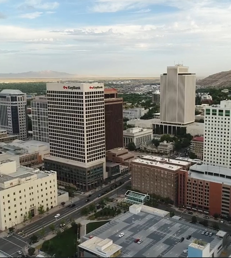 downtown salt lake city and key bank building