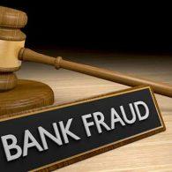 """gavel and """"bank fraud"""" sign"""