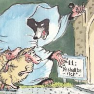 cartoon, wolf coaxing sheep into his house