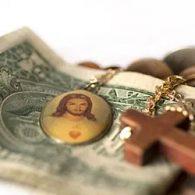 jesus christ and cross on top of dollar bill