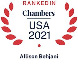 Allison Behjani, Top Ranked Chambers USA 2021